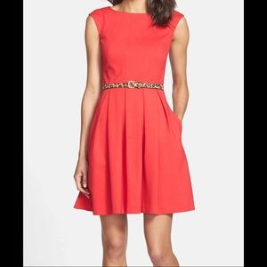 Eliza J Red Dress with Upper Back Cutout & Pockets